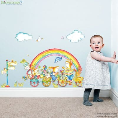 rainbow and bike wall sticker with hand drawn and watercolour style