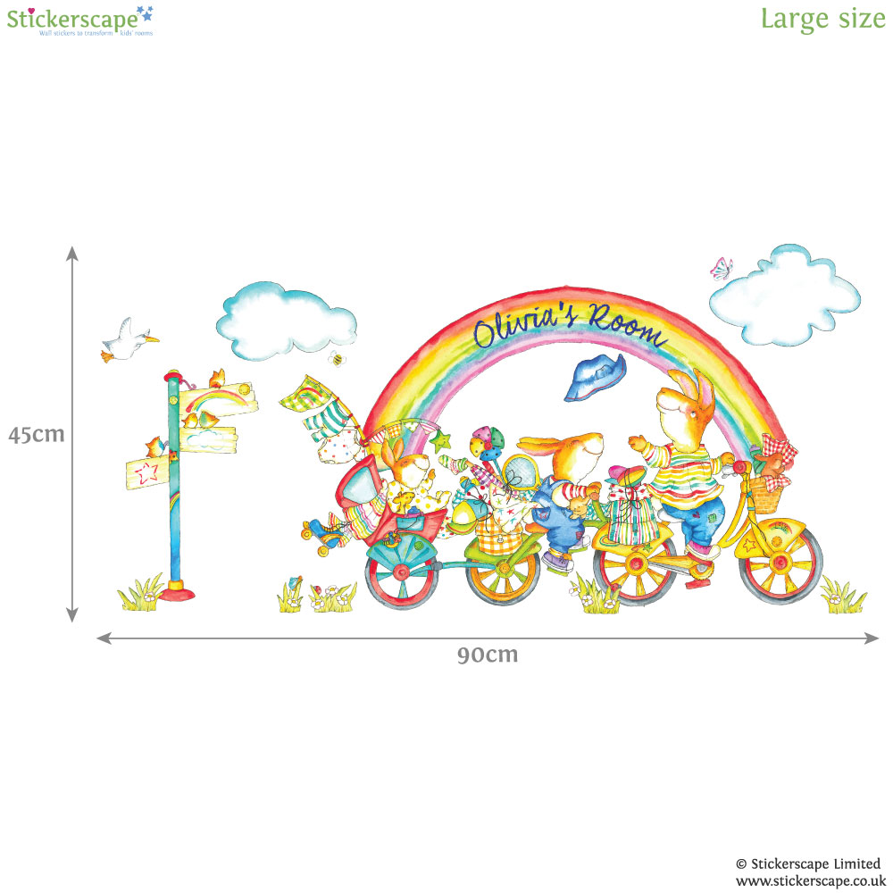 personalised rainbow bike wall sticker stickerscape uk jomoval rainbow wall stickers next day delivery jomoval