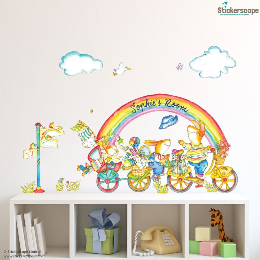 personalised rainbow bike wall sticker by emma vallis using handdrawn watercolour style