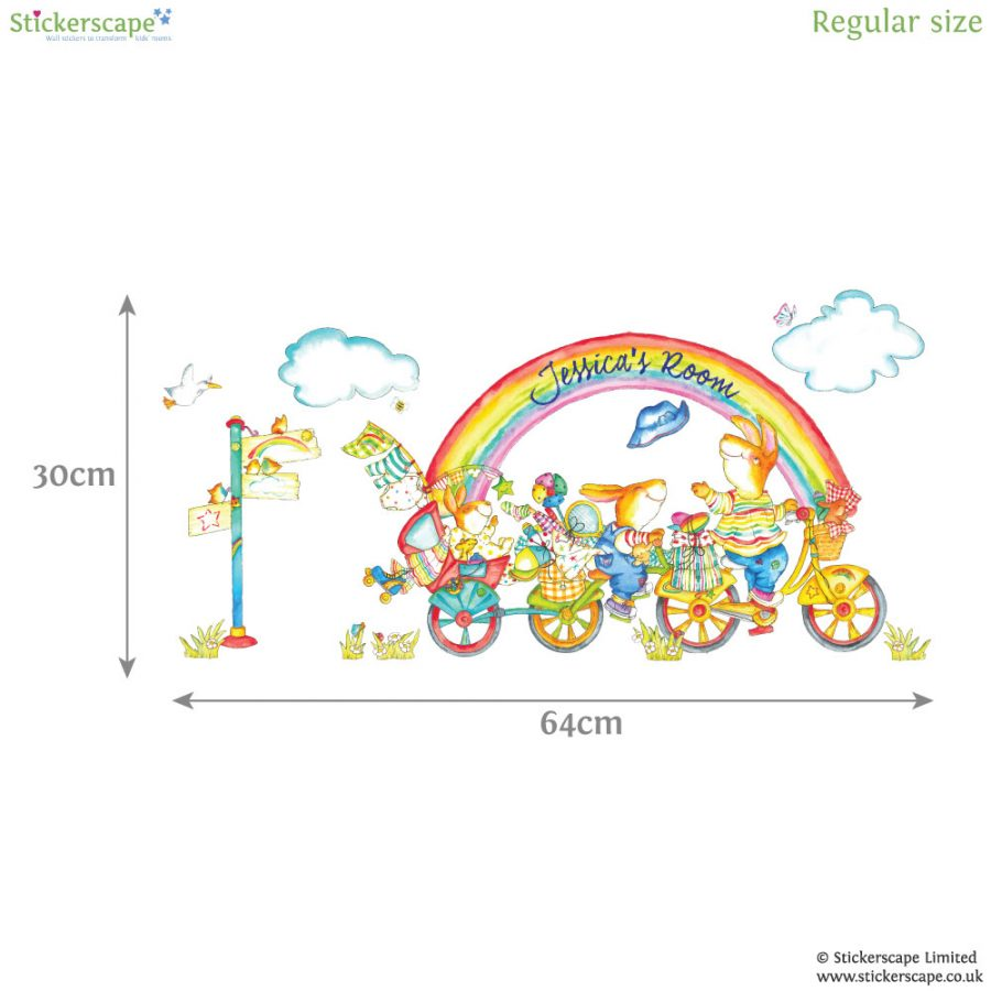 Personalised rainbow bike wall sticker | Emma Vallis | Stickerscape | UK