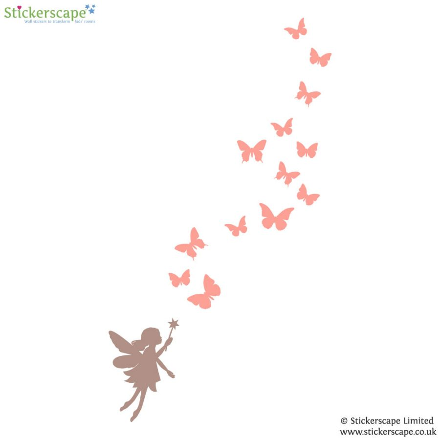 Fairy and butterfly wall stickers | Fairy Princess wall stickers | Stickerscape | UK