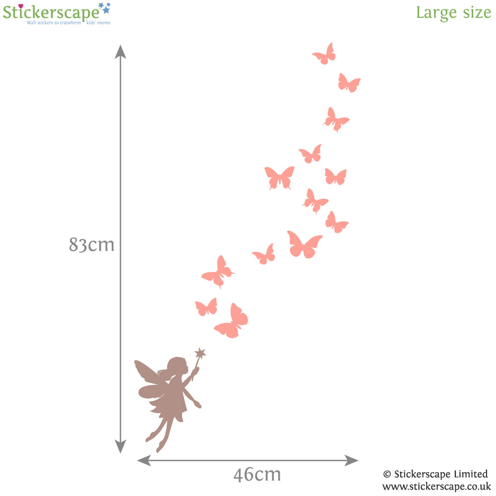 Fairy and butterfly wall stickers (Large size) | Fairy Princess wall stickers | Stickerscape | UK