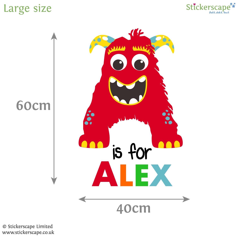 personalised monster monogram wall sticker stickerscape uk childrens personalised plane monogram wall sticker