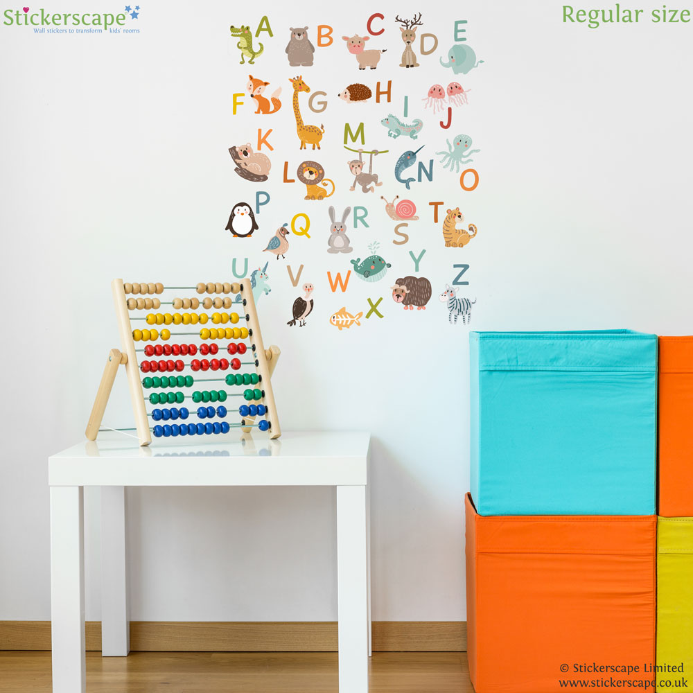 Animal Alphabet Wall Sticker (Regular Size) | Alphabet Wall Stickers |  Stickerscape | UK Part 84