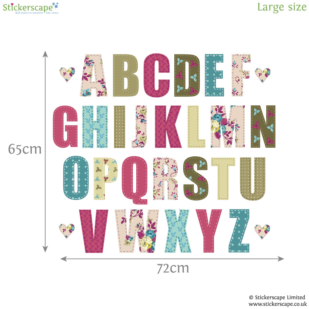 vintage floral alphabet wall sticker alphabet wall
