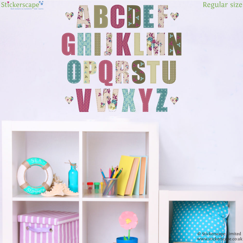 vintage floral alphabet wall sticker alphabet wall vintage tree wall sticker girls decals
