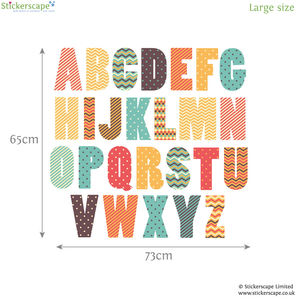 Retro alphabet wall sticker alphabet wall stickers for Print letter stickers