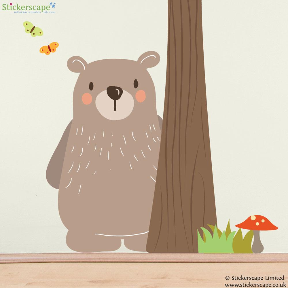Woodland Bear Wall Sticker Set Stickerscape Uk