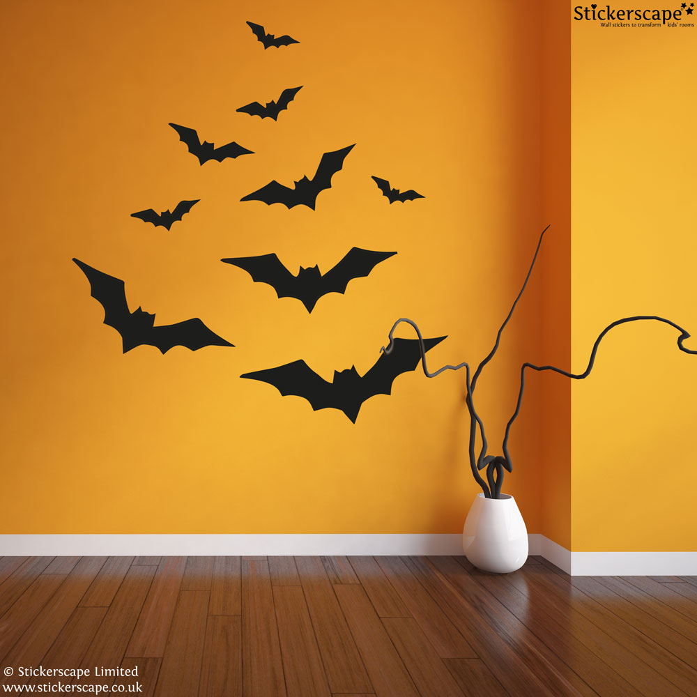 halloween bats wall stickers stickerscape uk