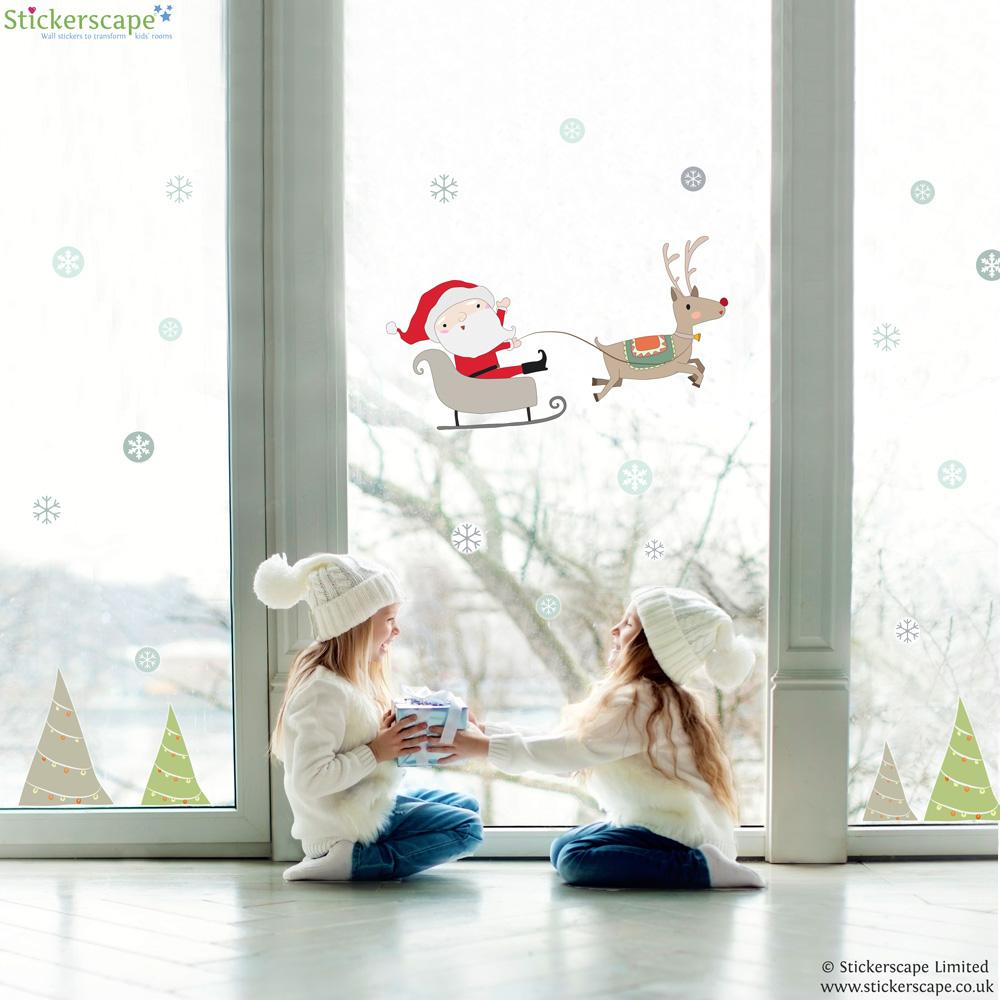 Santa Snow Globe Scene Window Stickers Stickerscape UK - Window stickers for home uk