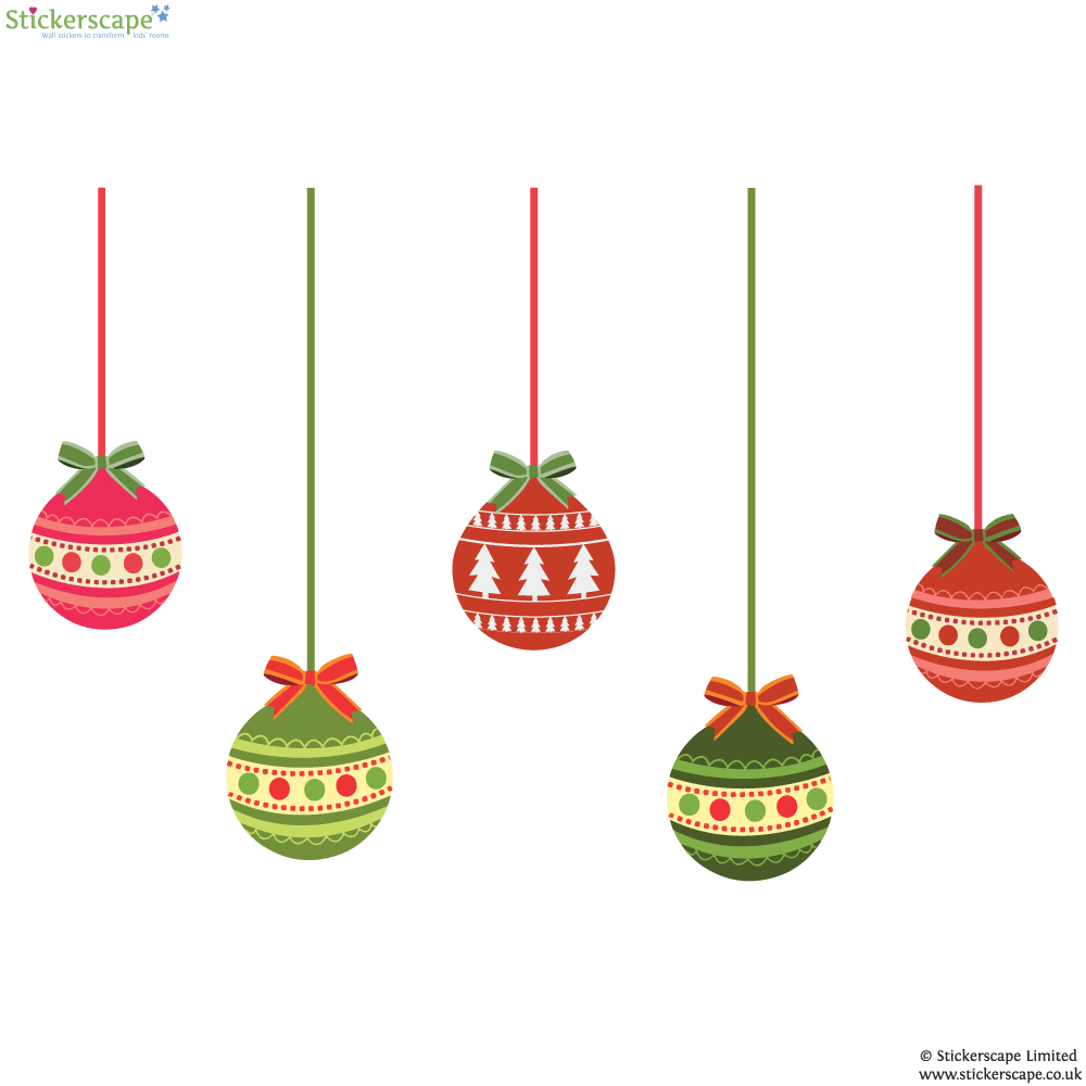 Christmas bauble window stickers (Option 1)   Christmas window stickers   Stickerscape   UK