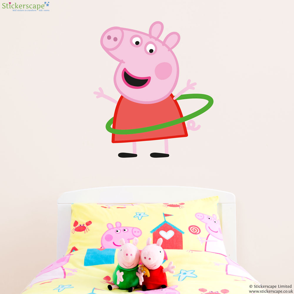 Peppa pig with hula hoop wall sticker stickerscape uk peppa pig with hula hoop wall sticker amipublicfo Images
