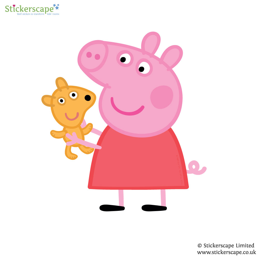 peppa pig with teddy wall sticker stickerscape uk tatty teddy like tree wall sticker stickythings co za
