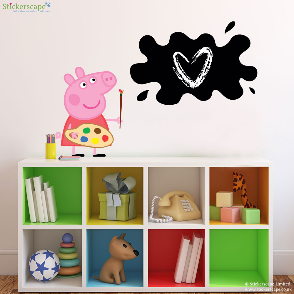 Peppa pig painting chalkboard wall sticker stickerscape uk peppa pig painting chalkboard wall sticker amipublicfo Images