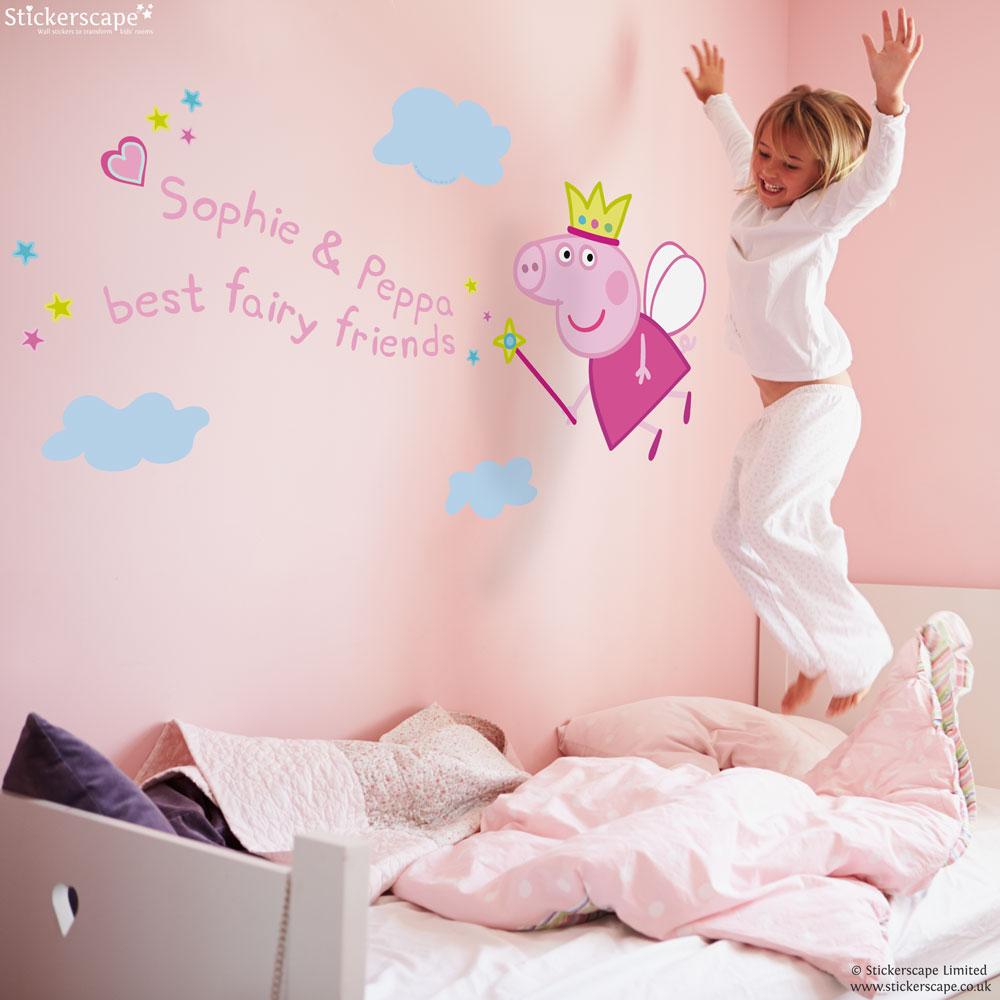 personalised fairy princess peppa wall sticker the fairy princess castle kids amp nursery wall sticker