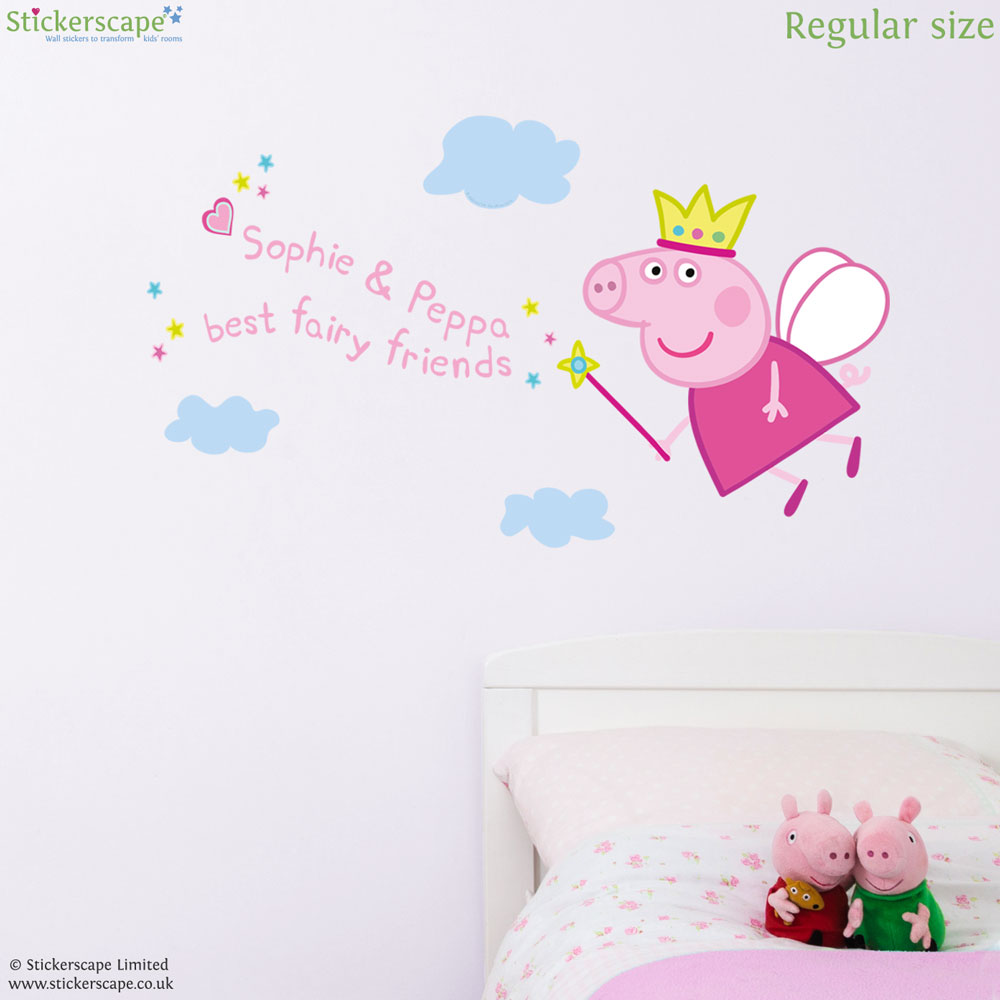 Personalised fairy princess peppa wall sticker stickerscape uk personalised fairy princess peppa wall sticker amipublicfo Images
