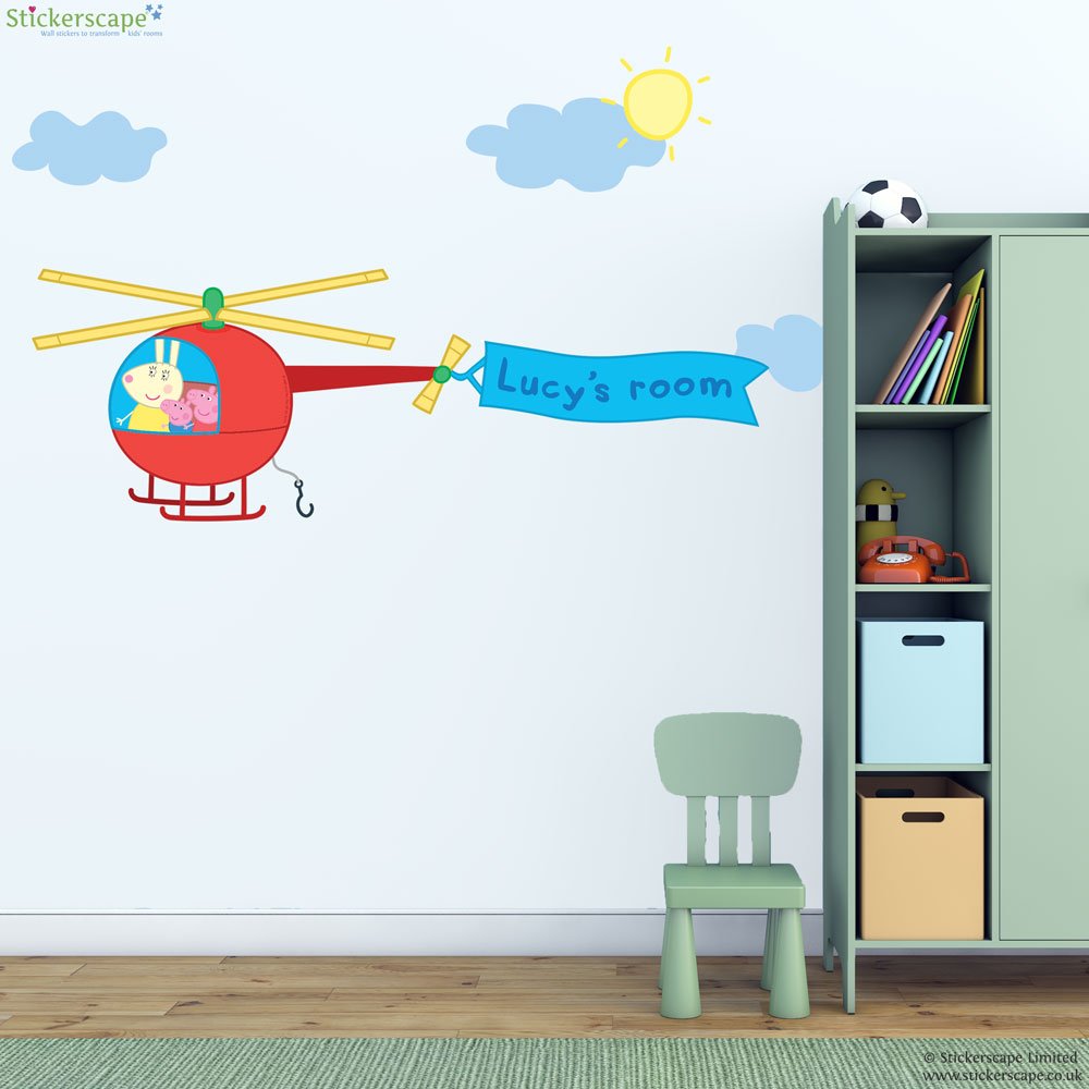 personalised peppa pig helicopter wall sticker