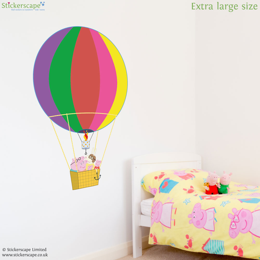 Peppa And Family Rainbow Hot Air Balloon Wall Sticker Part 84