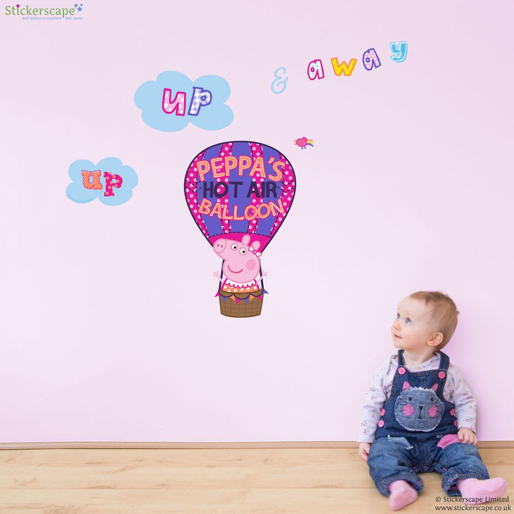 peppa s hot air balloon wall sticker stickerscape uk hot air balloon amp kites wall stickers