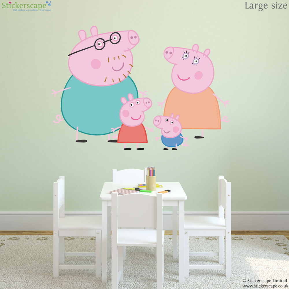 Peppa and family wall sticker set stickerscape uk peppa and family wall sticker set amipublicfo Images