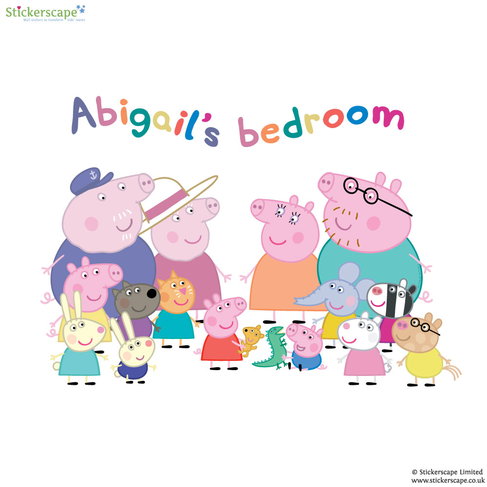 Personalised Peppa Pig Family Wall Sticker Stickerscape UK