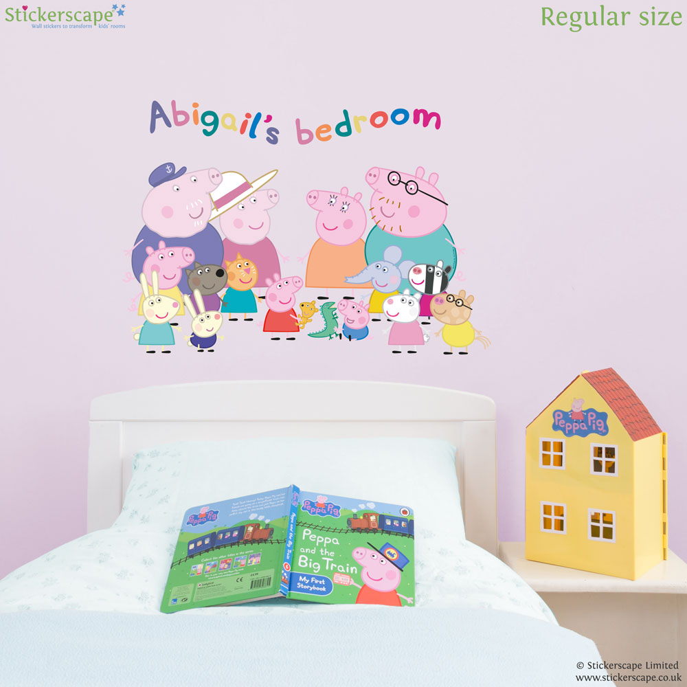 Personalised peppa pig family wall sticker stickerscape uk personalised peppa pig family wall sticker amipublicfo Images