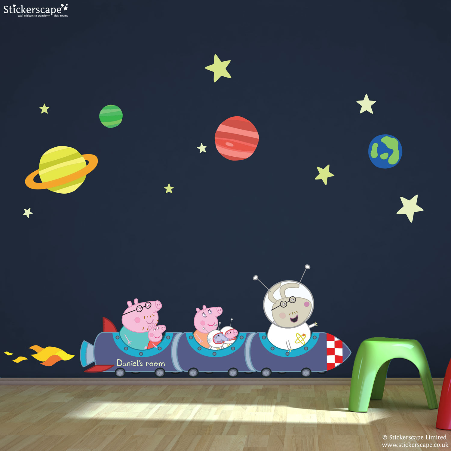 Space Rocket Wall Stickers Personalised Peppa Pig Rocket Train Wall Stickers