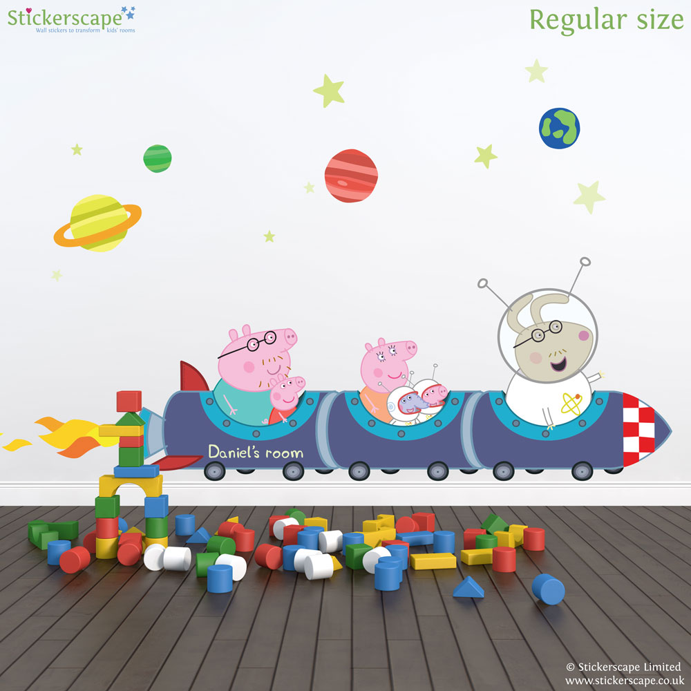 Personalised Peppa Pig Rocket Train Wall Stickers Part 37
