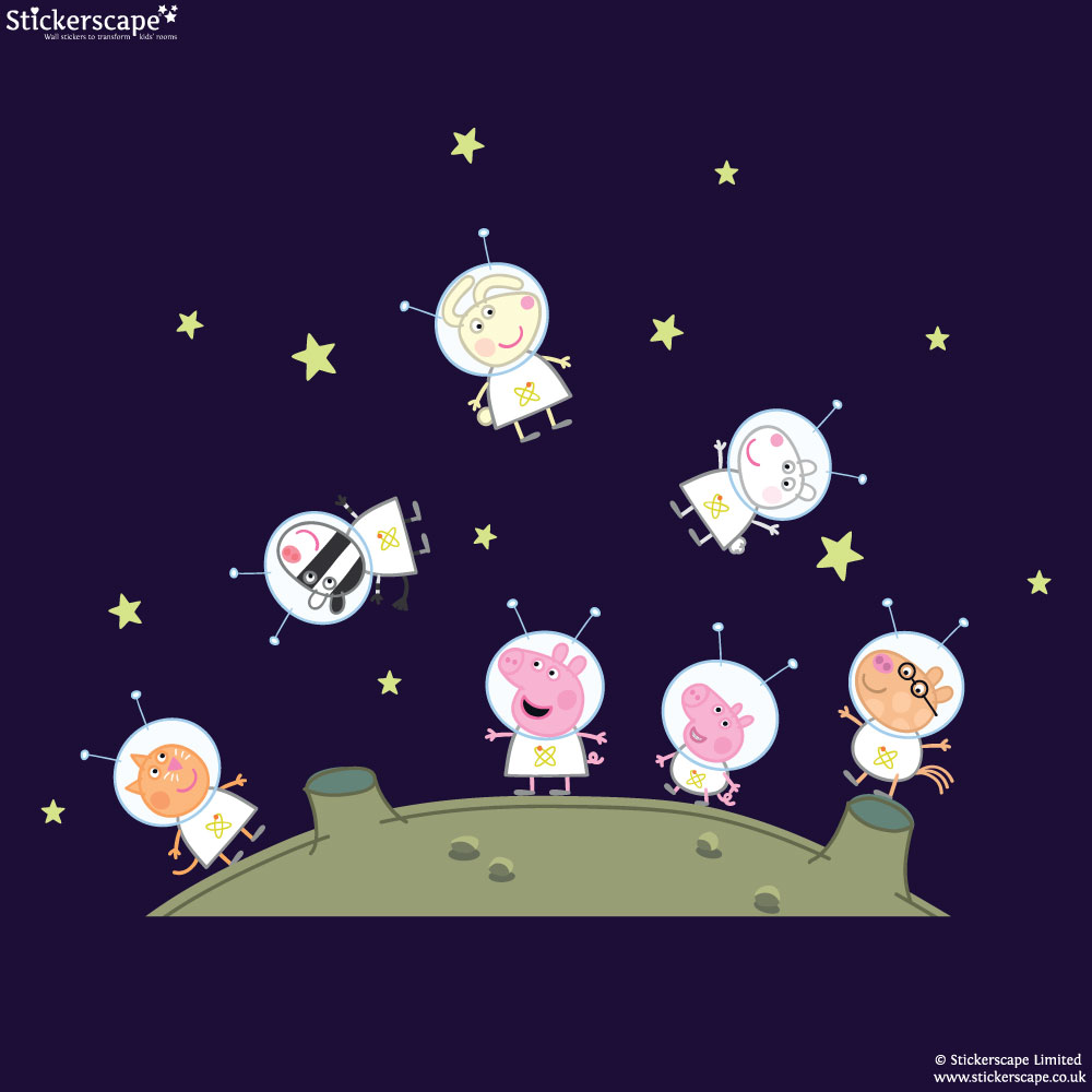 Peppa Pig And Friends On The Moon Wall Stickers Pack Part 81