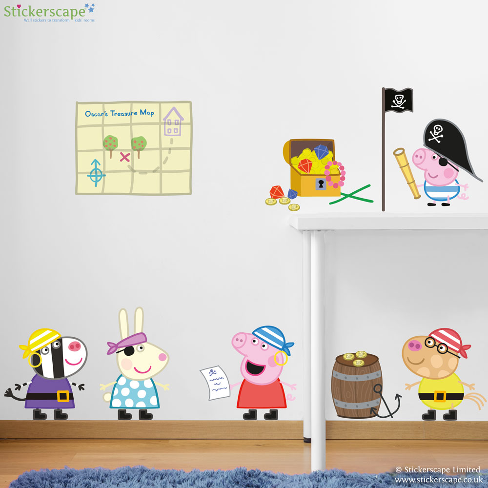 Personalised peppa pig pirates wall stickers pack stickerscape uk personalised peppa pig pirates wall stickers pack amipublicfo Images