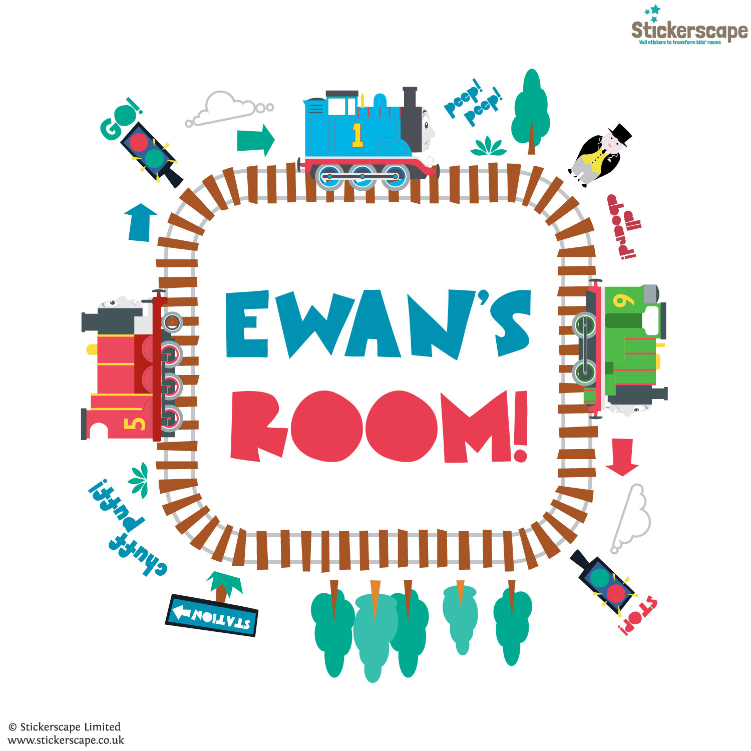 Personalised Thomas And Friends Track Loop Wall Sticker Nice Ideas