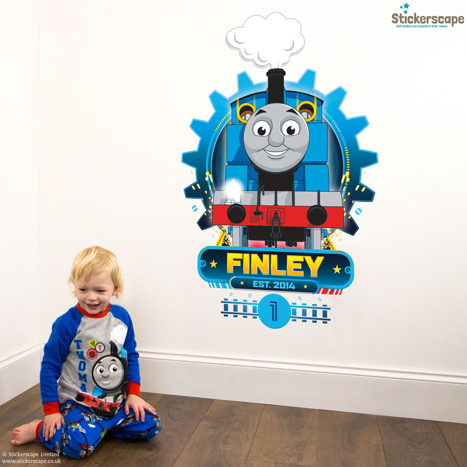 Thomas the tank engine wall stickers image collections home wall personalised thomas cog wall sticker stickerscape uk personalised thomas cog wall sticker extra large size thomas amipublicfo Images