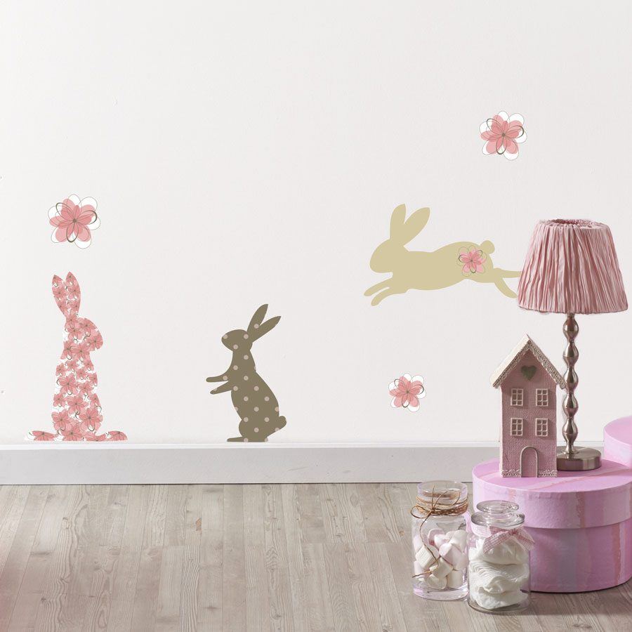 Pink bunny wall stickers | Nursery wall stickers | Stickerscape | UK