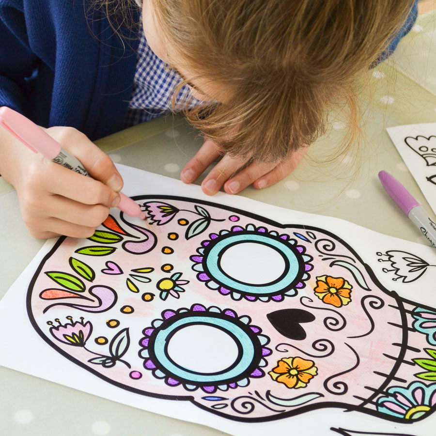 Day of the dead colour in window stickers Halloween window stickers