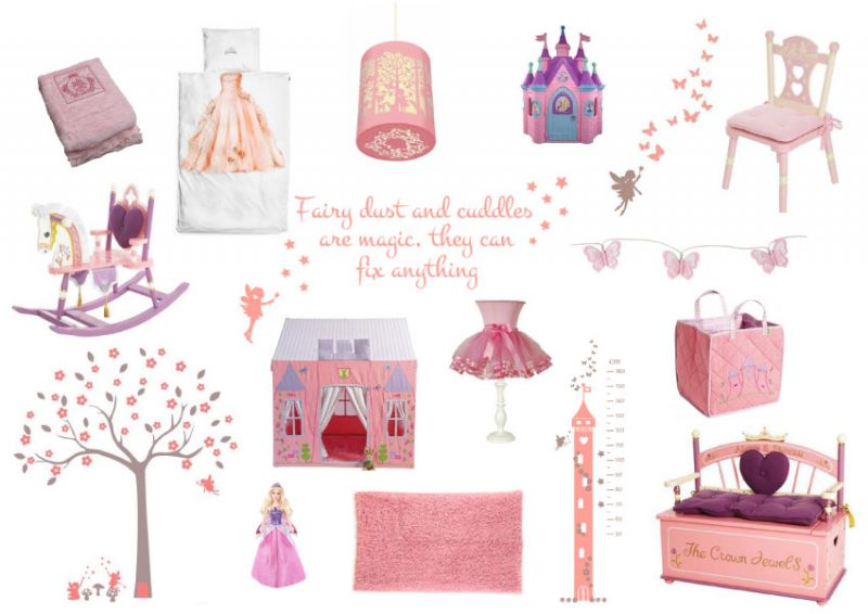 A fairy princess theme - moodboard to create a fairy princess theme room