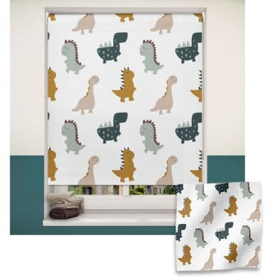 Cute Dinos roller blind includes a dinosaur themed roller blind perfect for decorating a children's room