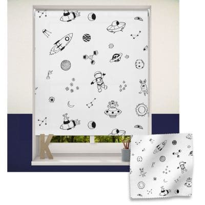 Monochrome Space roller blind includes a space themed roller blind perfect for decorating a children's room