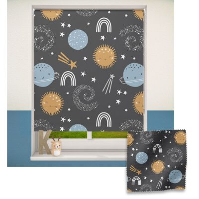 Blue and Gold Space roller blind includes a space themed roller blind perfect for decorating a children's room
