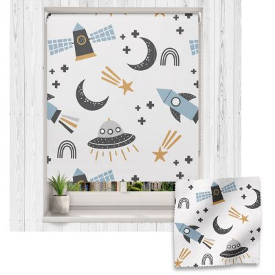 Scandi Space roller blind includes a space themed roller blind perfect for decorating a children's room