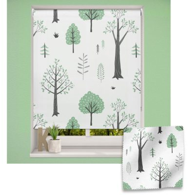 Mint Woodland Trees roller blind includes a space themed roller blind perfect for decorating a children's room