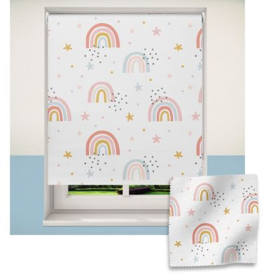 Grey rainbows & stars roller blind includes a rainbow themed roller blind perfect for decorating a children's room