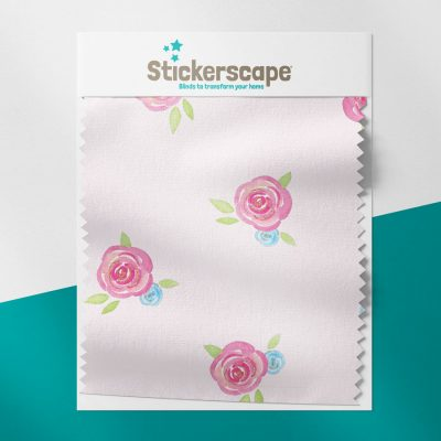 Roses on Pink swatch for roller blind