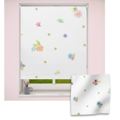 Flowers & Stars roller blind includes a floral themed roller blind perfect for decorating a children's room