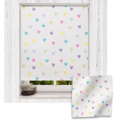 Pastel Hearts roller blind includes a heart themed roller blind perfect for decorating a children's room