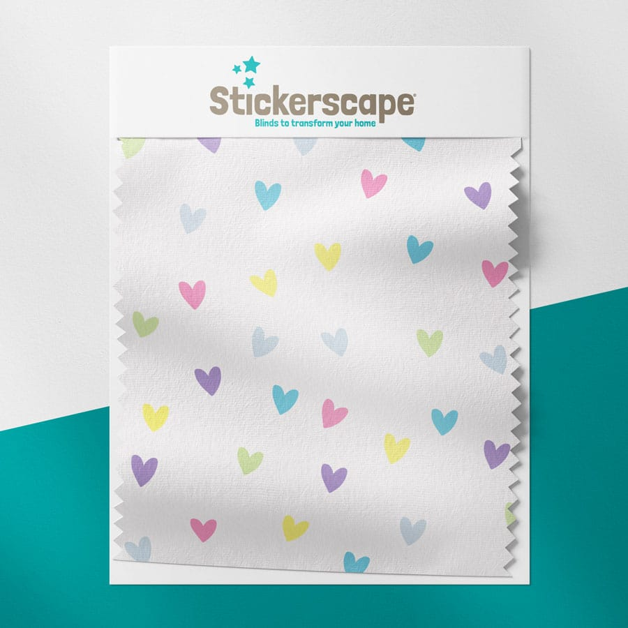 Pastel Hearts swatch for roller blind