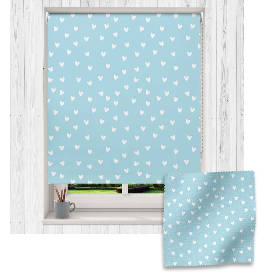 Blue and White Heart roller blind includes a heart themed roller blind perfect for decorating a children's room