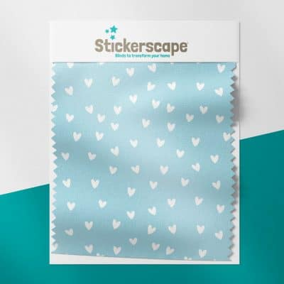 Blue and White Hearts swatch for roller blind