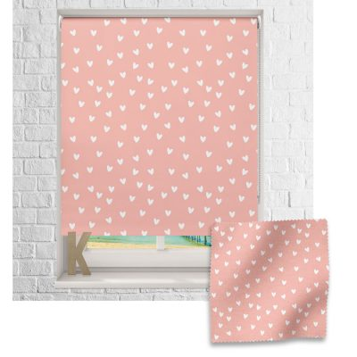 Pink and White Heart roller blind includes a heart themed roller blind perfect for decorating a children's room