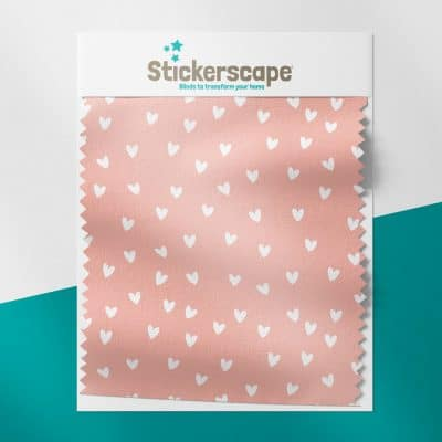 Pink and White Hearts swatch for roller blind