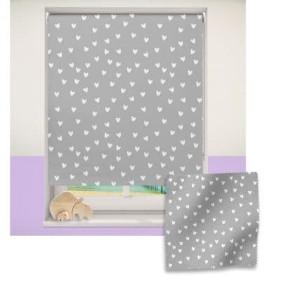 Grey and White Heart roller blind includes a heart themed roller blind perfect for decorating a children's room